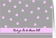Wedding Shower Thank You -- Light Pink Polka Dots card
