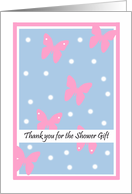 Bridal Shower Thank You Card -- Pink Butterflies card