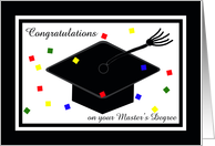 Master's Degree Graduation Card -- Graduation Cap and Confetti card
