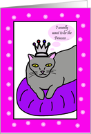 Mothers Day Card from Cat -- Grey Kitty card