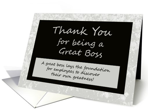 Bosses Day Card -- Thank You for Being a Great Boss card (489226)