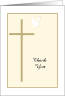 Religious Christian Thank You Card -- Cross and Dove card