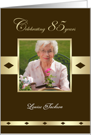 85th Birthday Party Photo Card Invitation 85 Years In Brown