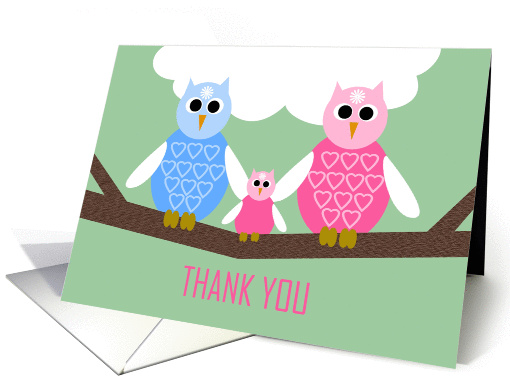Girl Baby Shower Thank You Poem Card -- Owl Family card (966517)