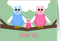 Girl Baby Shower Thank You Poem Card -- Owl Family card