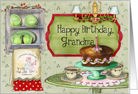 Happy Birthday, Grandma; cake and retro towels and dishes card