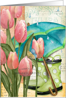Pink Tulips with Umbrella and Rubber Boots Get Well Card
