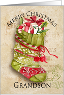 Christmas Stocking with Gifts on Aged Background for Grandson card