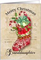 Christmas Stocking with Gifts on Aged Background for Granddaughter card