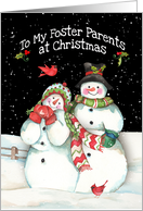 Foster Parents Merry Christmas with Snowmen Couple and Cardinals card
