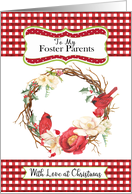 To Foster Parent Love at Christmas with Checks and Cardinals in Wreath card