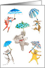 Baby Boy Shower - Blue Umbrella Animals card