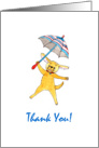 Blue Umbrella Puppy Thank You card