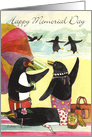 Memorial Day Penguin Beach card