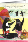 July 4th Penguin Beach card