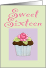 Sweet 16 Birthday Rose Cupcake card