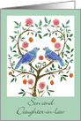 1st Anniversary Son & Daughter-in-law Blue Doves card