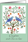 1st Anniversary, Daughter & Son-in-law Blue Dove card