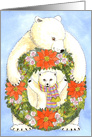 Polar Bear, Cub & Christmas Wreath card