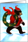 Brown Bear's Christmas Wreath card