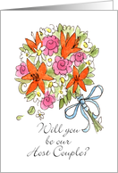 Will you be our Host Couple?-Bridal Bouquet card