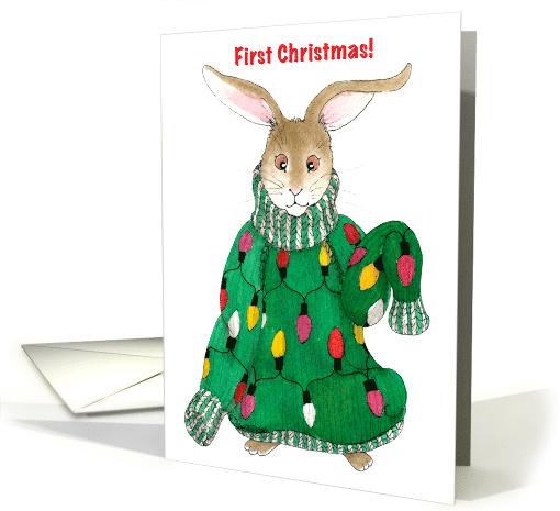 Baby's First Christmas - Ugly Christmas Sweater Bunny card (1174430)