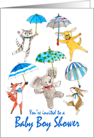 Baby Boy Shower Invitation - Blue Umbrella Animals card