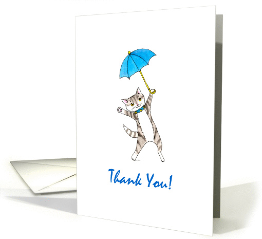 Baby Boy Shower Thank You - Grey Tabby Cat with Blue Umbrella card