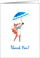 Baby Boy Shower Thank You - Red Fox with Blue Umbrella card