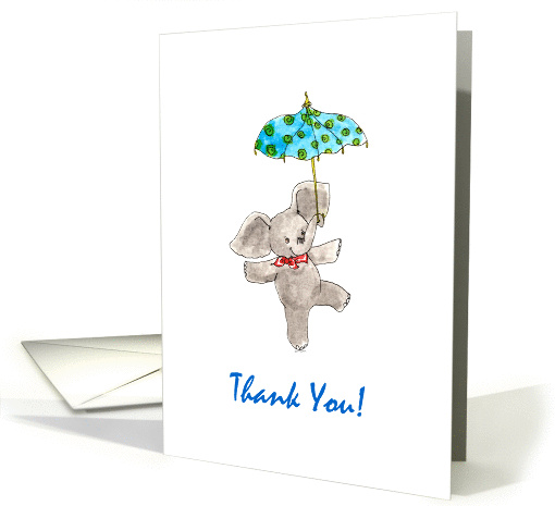 Baby Boy Shower Thank You - Elephant with Blue Umbrella card (1309768)