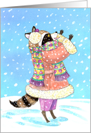 New Year Girl Raccoon dressed for Winter in the Snow card