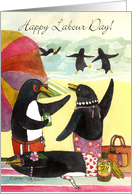 Labour Day Penguin Beach card
