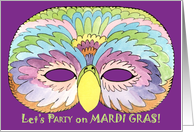 Parrot Mask Invite, Mardi Gras card