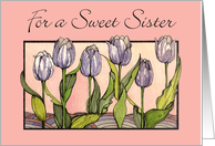 Sister Day, Purple Tulips For a Sweet Sister card