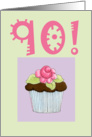 Rose Cupcake Invite 90 birthday card