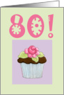Rose Cupcake Invite 80 birthday card