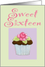 Rose Cupcake Invite Sweet 16 birthday card