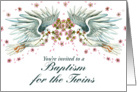 Twin Doves Baptism Invitation card