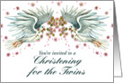 Twin Doves Christening Invitation card