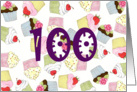 Cupcakes 100th Birthday Invite card