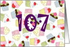Cupcakes Galore 107th Birthday card