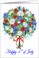 Fourth of July Birthday Patriotic Bouquet card