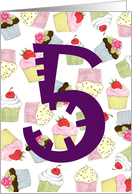 5th Birthday Party Invitation, Cupcakes Galore card