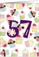 57th Birthday Party Invitation, Cupcakes Galore card