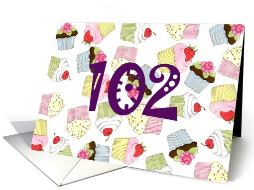 102nd Birthday Party Invitation, Cupcakes Galore card (688616)