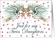 Twins Day for Twin Daughters, Twin Doves card
