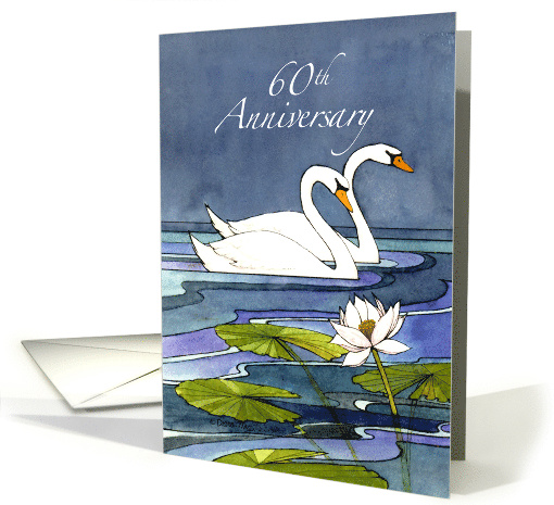 60th Wedding Anniversary Swans card (849152)