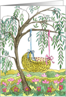 Baby Shower Willow Cradle card