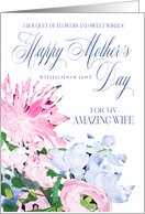 Shades of Pink and Blue Floral Bouquet Mother's Day for Wife card
