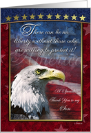 Son Gold Stars and Bald Eagle Patriotic Card